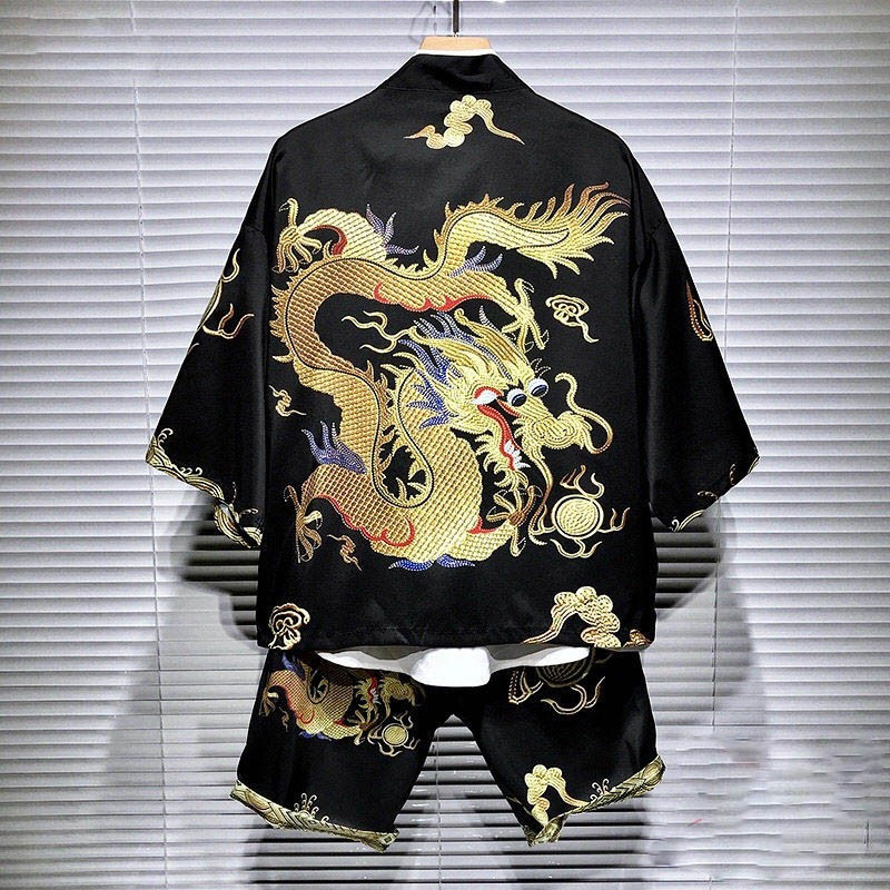 NiceMix Oversized HipHop Streetwear Japanese Men Kimono Blouse Shorts Set Harajuku Loose Cardigans Top Shirt Dragon Print Punk