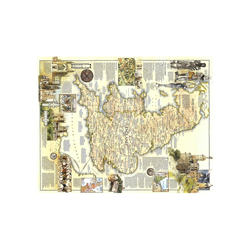 150x220cm HD Printed Map Medieval England Map Vinyl Spray Painting Waterproof Home Decor Painting Wall Art Map For Office Wall