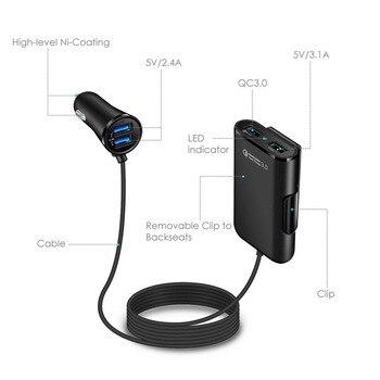 QC3.0 автомобильное зарядное устройство 1 в 4 USB заднего сиденья ряд быстрая зарядка автомобильное зарядное устройство мобильный телефон Быст...