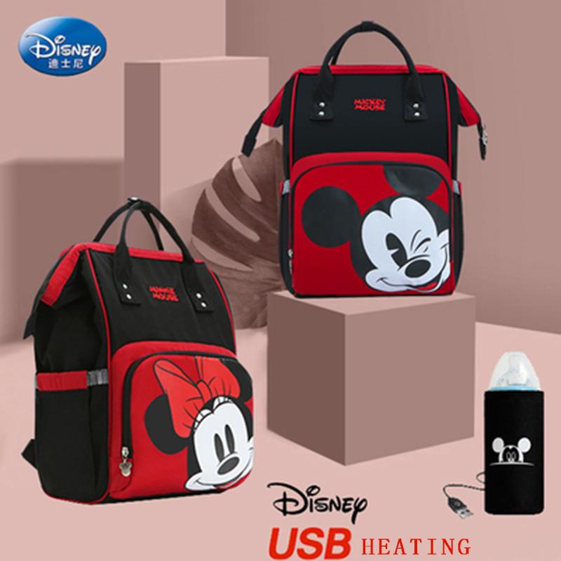 Disney Diaper Bag Mommy Baby Waterproof Heating USB Micky Cartoon Backpack Travel Bag Pregnant Women Backpack Large Capacity