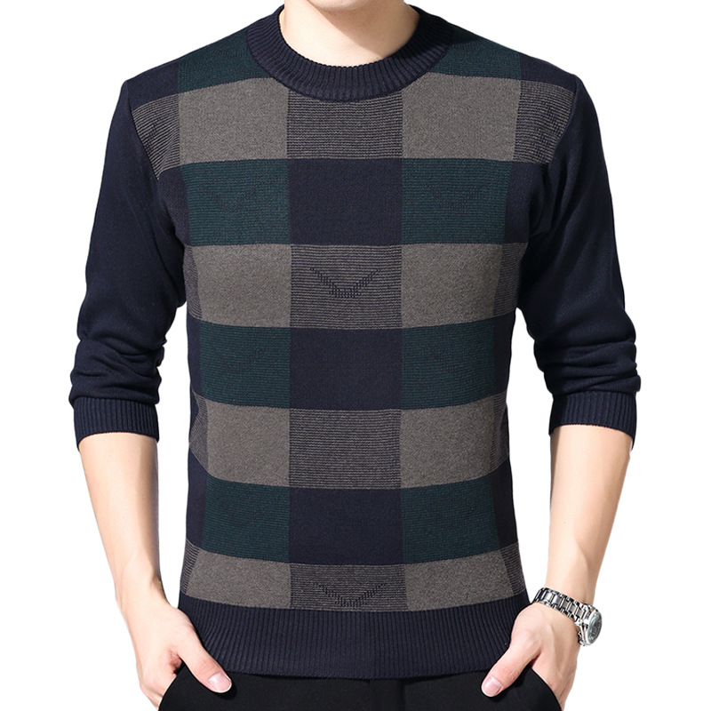 Men's Sweater Winter O-neck Knitted Sweaters Mens Casual Plaid Warm Knitting Jumper Pullovers Fashion Slim Fit Wool Sweater Male