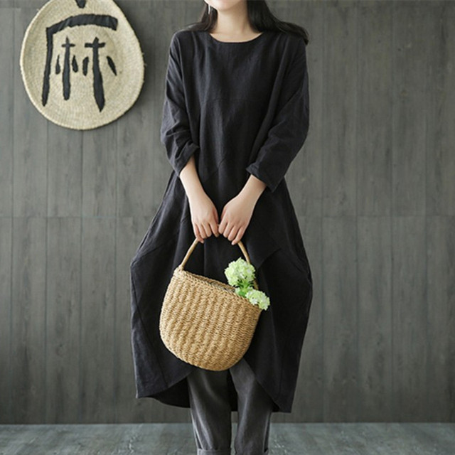 Uego Linen Cotton Dress Plus Size M-5XL Loose Dress Solid Color Long Sleeve Autumn Dress Vintage Women Dress Femeal Spring Dress 2