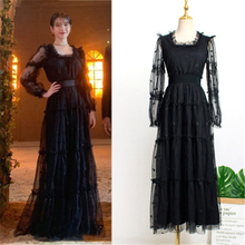 Black dress with belt for women DEL LUNA Hotel same IU платье летнее Korean  autumn Gifts Birthday Christmas Clothes wear