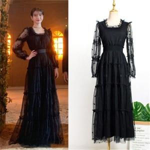 Image 1 - Черное платье с поясом для женщин DEL LUNA Hotel same IU платье летние корейские осенние подарки на день рождения Рождественская одежда