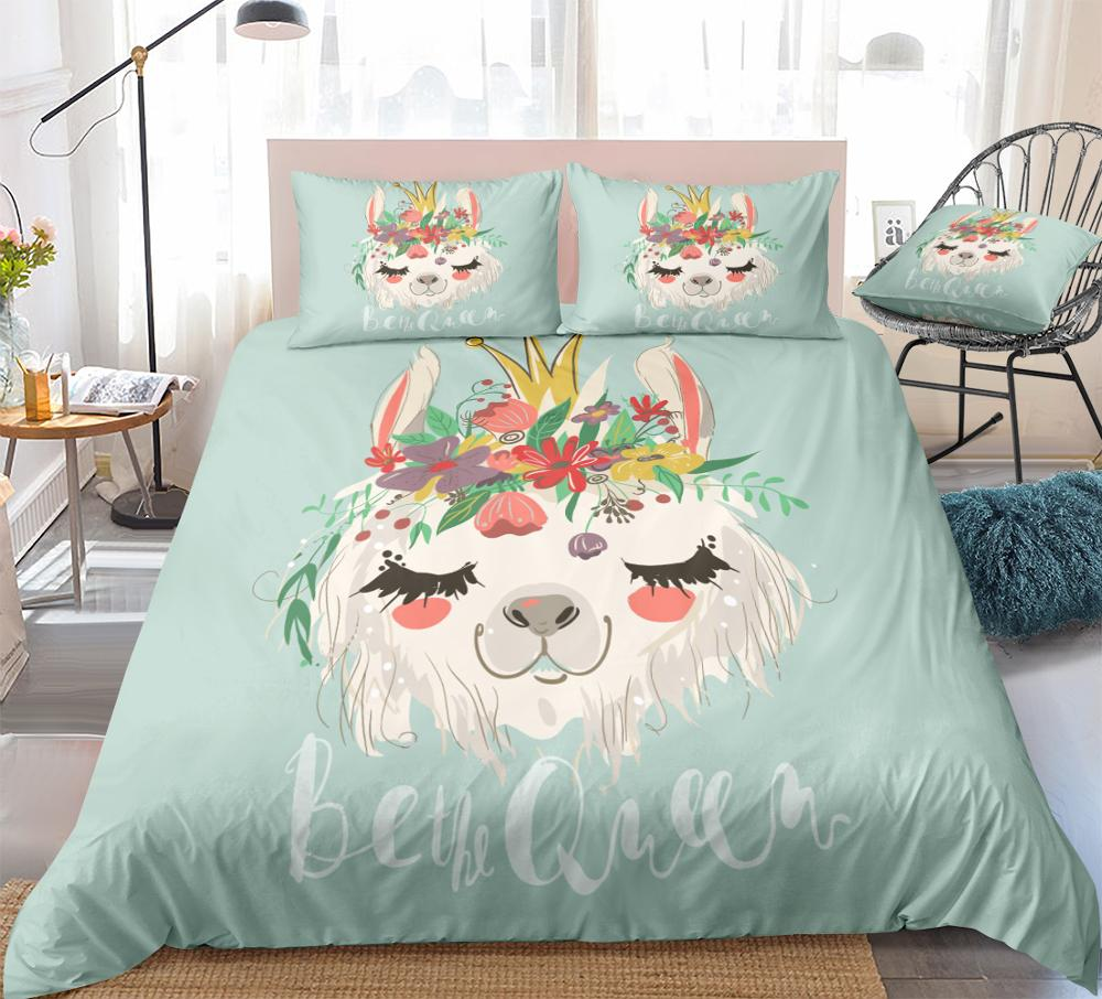 Cartoon Alpaca Bedding Set Kids Girls Crown Duvet Cover Set Flowers Quilt Cover Floral Home Textiles King Blue 3pcs Dropship