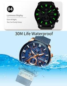 Image 5 - CURREN montre bracelet pour hommes, étanche chronographe, en cuir véritable, marque de luxe, nouvelle horloge, Sport, style militaire, 8346