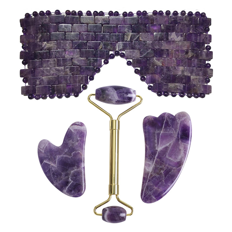 Amethyst Jade Eye Mask Face Massage Sleep mask Jade Roller Guasha Scraper Natural Crystal Stone Cold Therapy Eye Mask Massage