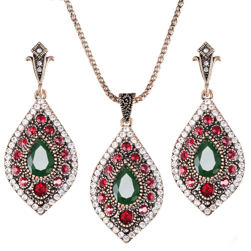 Indian luxury vintage crystal jewelry set earring necklace antique gold resin turkish wedding jewelry