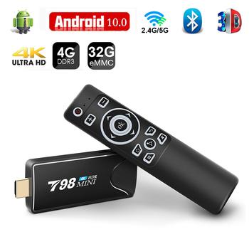 Mini Tv Stick Box TV Android 10 4K 4G 32G Android Tv pudełko 2 4G 5 8G podwójna inteligentna przystawka wi-fi do telewizora Tv pudełko odtwarzacz multimedialny odbiornik sygnału Tv Set Top Box tanie i dobre opinie Topsion Brak CN (pochodzenie) RK3318 Quad-kor 16 GB eMMC 32 GB eMMC 2G DDR3 4G DDR3 T98 mini 802 11n 2 4GHz 5 GHz 0 2KG