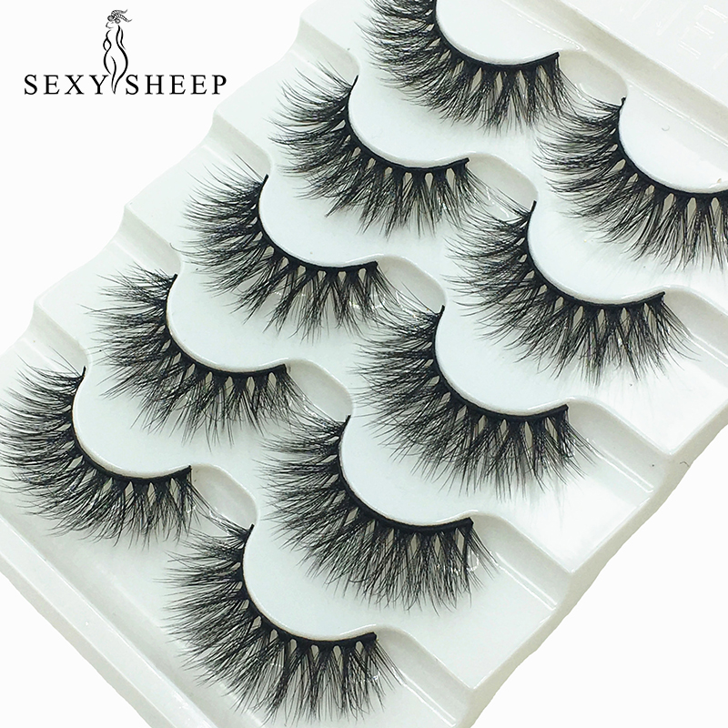 SEXYSHEEP 5pairs 3D Faux Mink Eyelashes False Lashes Wispy Thick Lashes Handmade Soft Eye Makeup Eyelashes Extension Tools