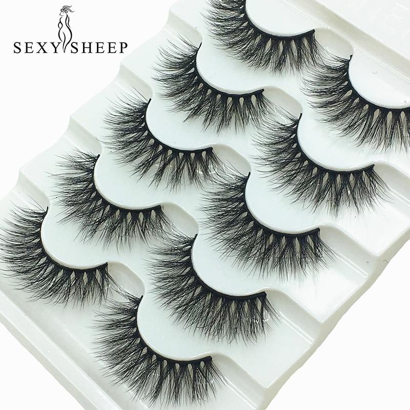 SEXYSHEEP 5pairs 3D Faux Mink Eyelashes False Lashes Wispy Thick Lashes Handmade Soft Eye Makeup Eyelashes Extension Tools