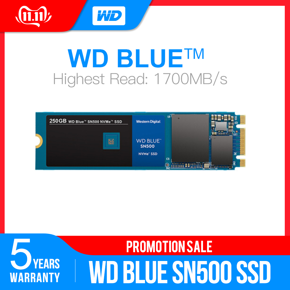 Western Digital Blue SN500 SSD Drive 250GB 500GB M.2 2280 NVMe PCIe Gen3*2 Internal Solid State Drive For PC Free Shipping