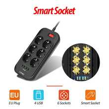 LDNIO ue Plug 3.4A 4 USB prise électrique Extension intelligente multiprise chargeur adaptateur 6 prise Protection contre les surtensions interrupteur maison
