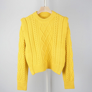 Image 2 - High Quality Wool Blend Vintage Style French Style Contour Coarse Knitted Sweater Jumper Pullover   Ladies Yellow/Beige Knit Top