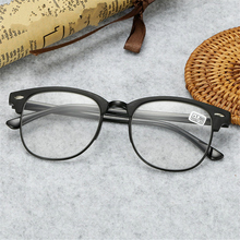Ti-CARING Classic Reading Glasses Men Retro TR90 Half Frame Presbyopic Eyeglasses Anti Fatigue
