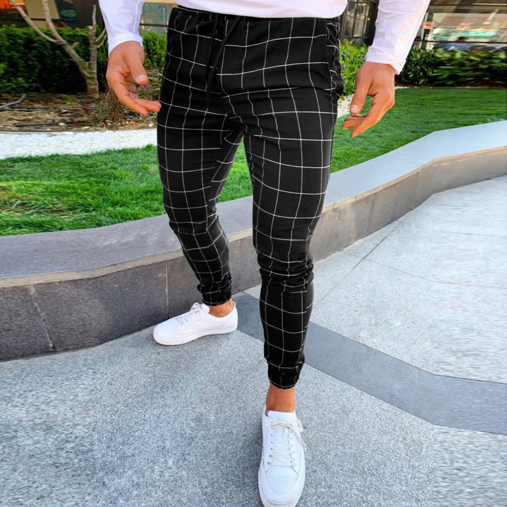 Fashion Men Casual Plaid Print Drawstring Elastic Waist Long Pants Trousers Pantalon Homme Men Trousers Mens Pants Fashions Men