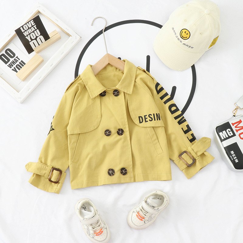 Childrenswear 2020 Korean-style BOY'S Baby Double Breasted Trench Coat Spring And Autumn Children Baby Singe Jacket Tops