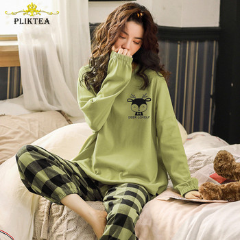 Pliktea Women Cotton Pajamas Set Cartoon Homewear Women Home Clothes Lounge Wear Long Sleeve Female Pajamas Cotton Sleepwear 1