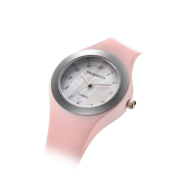 Montre femme Quartz montre femme renaissance haut marque montre pour femme mode rose bracelet Silicone Reloj Mujer Relogio Feminino Ze