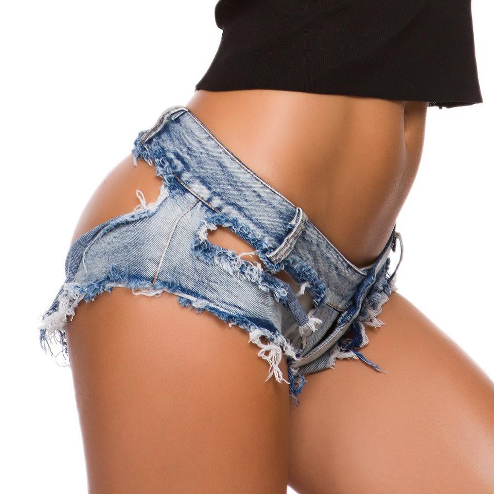 S-XL Plus Size Women Hot Sexy Hole Scratched Bikini   Short   Jeans Denim Tassel G-string Beachwear Booty   Shorts   Thong Mini Bermudas