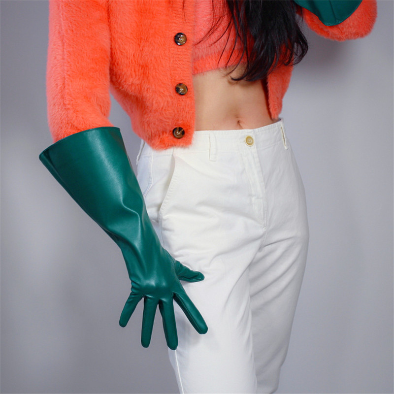 TECH LONG GLOVES Unisex Dark Green Faux Leather 38cm Wide Balloon Puff Sleeves Male Female Gloves WPU155