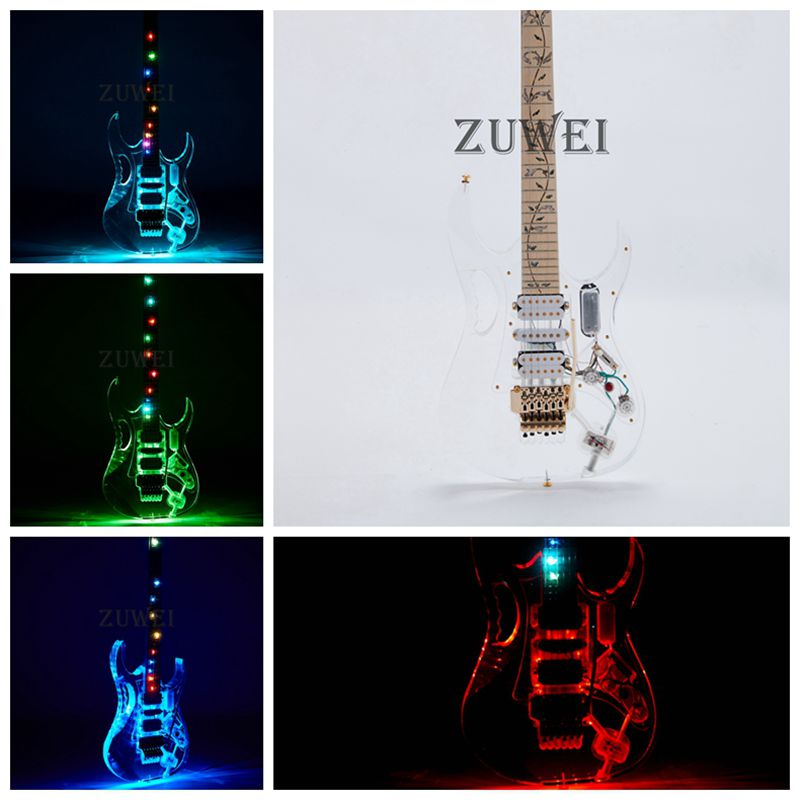 7V Electric Guitar Led Light Flash Style Color Acrylic Body Gold Hardware FR Bridge image