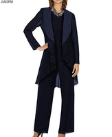 Women's 3 Piece Chiffon Black Mother of Bride Dress Pant Suits with Shawl Lapel Jacket for Wedding