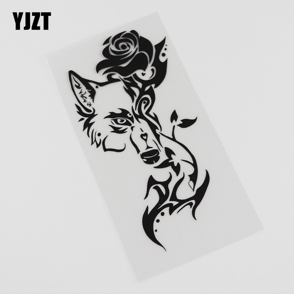 YJZT  7.6CM*15.3CM Fashion Wolf Flower Tribal  Window Decoration Vinyl Car Sticker 13C-0061