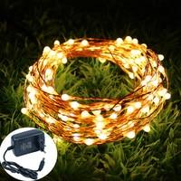 Guirnalda de luces LED de 12V, 10M, 20M, 30M, 50M, cable de cobre ligero, luces de hadas flexibles e impermeables, adaptador de corriente