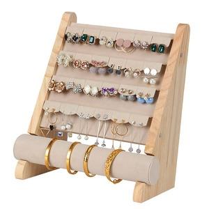 Image 5 - Wooden Jewellery Organizer Rack Hook Earrings Holder Hanger Necklace Watch Bracelet Stand Display Storage