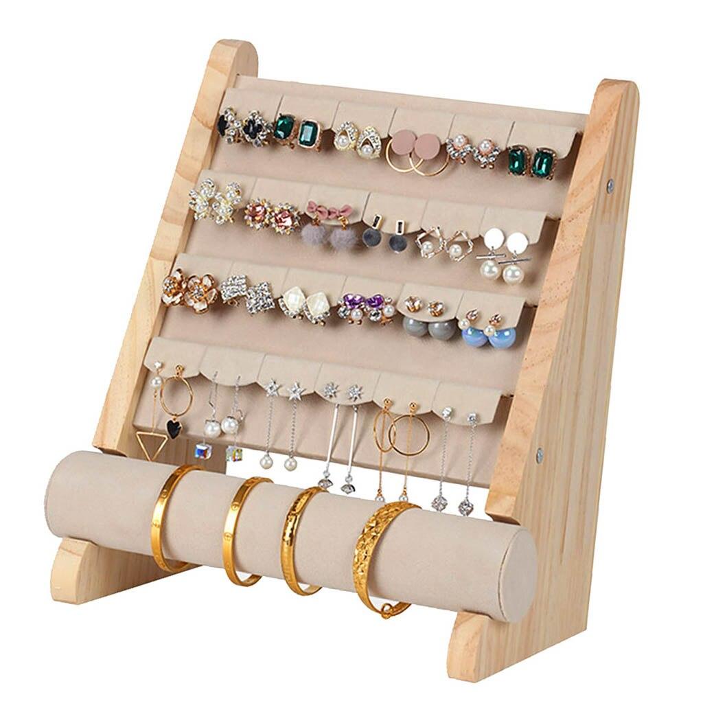 Jóias de madeira organizador rack gancho brincos