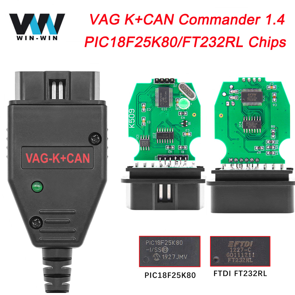 VAG K CAN K Can Commander 1 4 PIC18F25K80 FTDI OBD OBD2 Car Diagnostic Auto Tool Scanner cable For Audi VW Odometer Correction