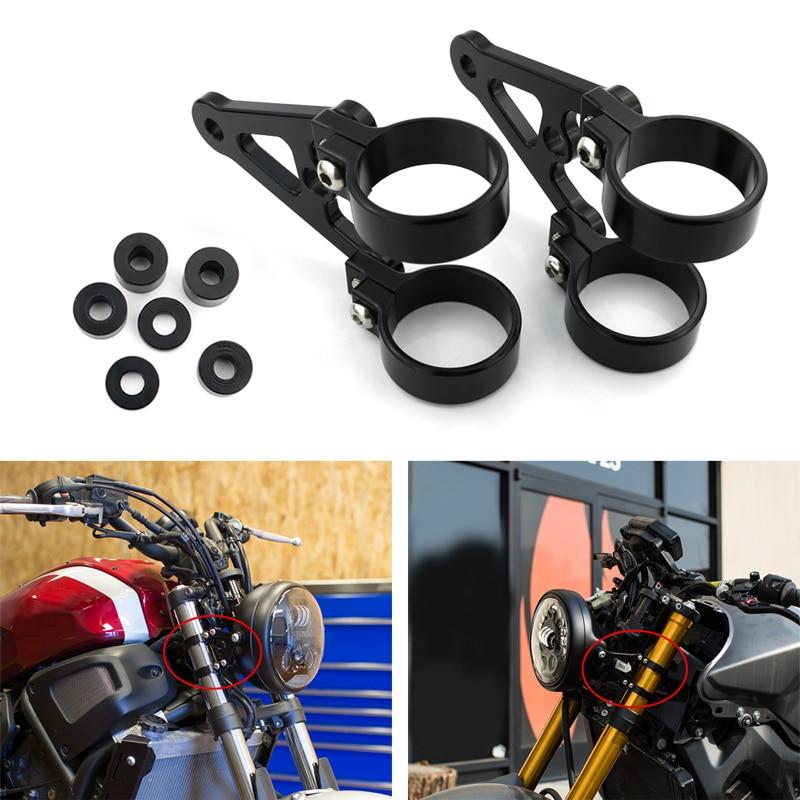 Bike It Motorcycle High Chrome Motorcycle Motorbike Headlight Bracket 50-53mm