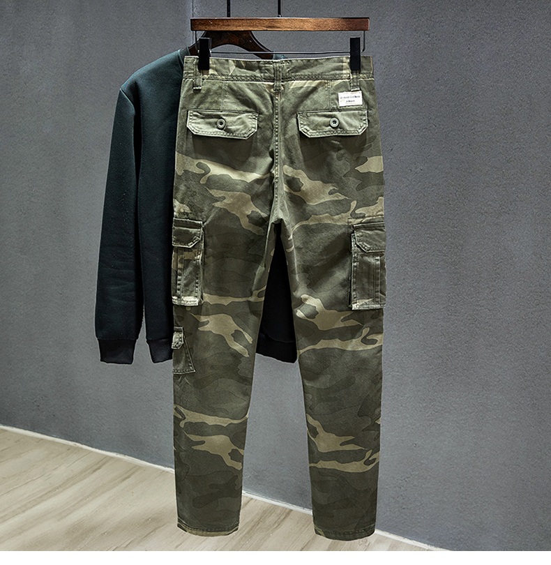 KSTUN Cotton Cargo Pants Men Straight Cut Tactical Military Overalls Multi Pocket Camouflage Pants Khaki Pants Man Trousers Sweatpants 20