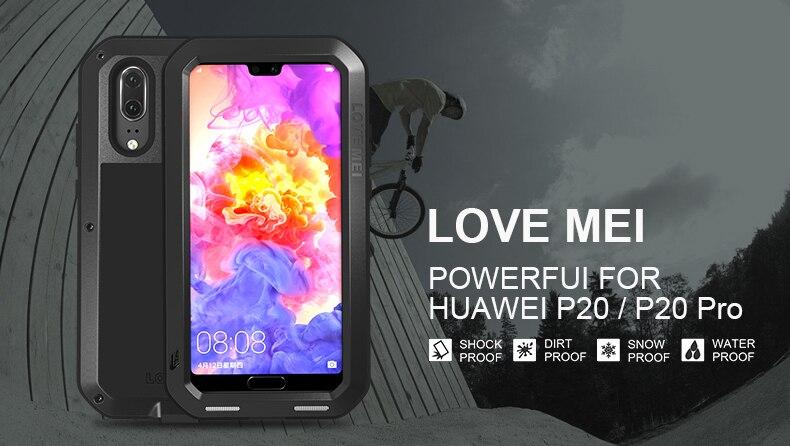 LOVEMEI puissant étui pour Huawei P20 étanche en métal housse antichoc pour Huawei P20 Pro étui de Protection en aluminium verre gorille