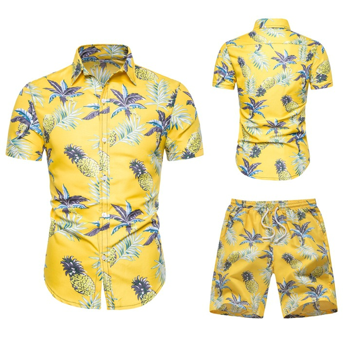 New Products Men Casual Hawaii Wind Slim Fit Fold-down Collar Short-sleeved Shirt Shorts Set