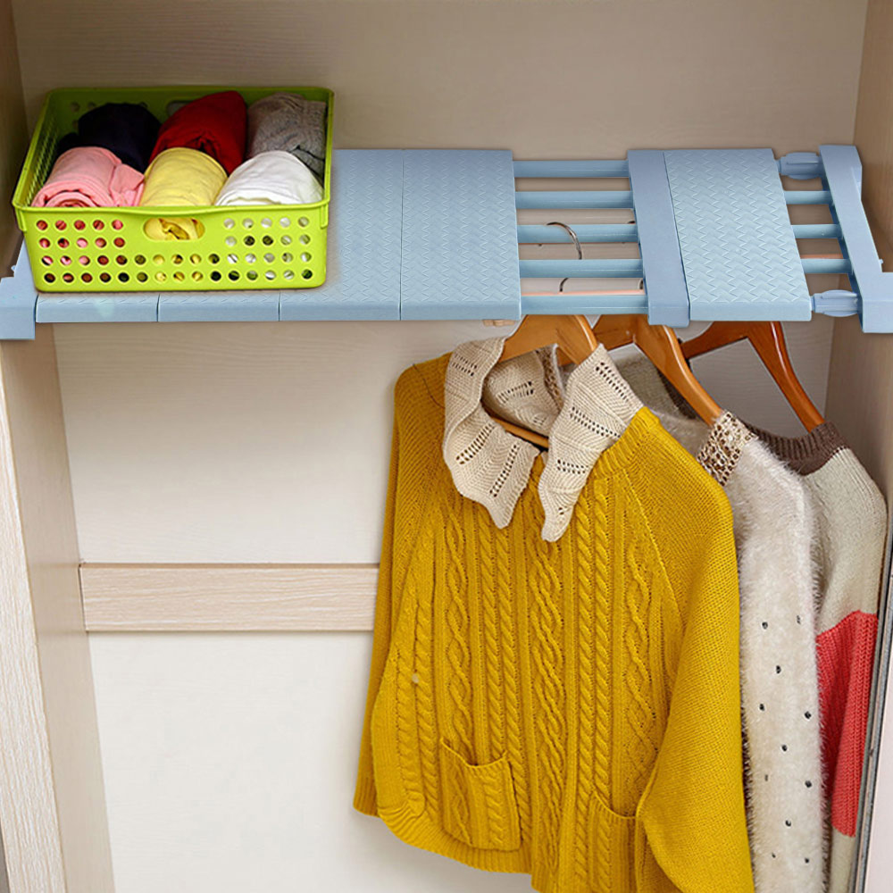 1PC Adjustable Closet Organizer Storage Shelf Wall Mounted Kitchen Rack Space Saving Wardrobe Decorative Shelves Cabinet