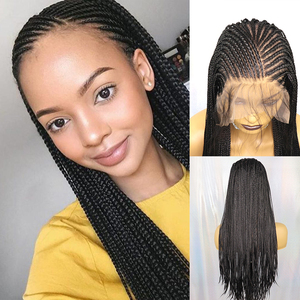 IvyNa Micro Braided Synthetic Lace Front Wigs 13x6 Futura Heat Resistant Box Braided 13x6 Lace Front Wigs with Baby Hair 200s(China)