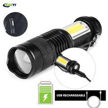 Mini USB Rechargeable LED Flashlight Use XPE + COB lamp bead