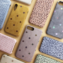 Funda suave de textura de tela para iphone X XS Max XR funda para iphone 7 8 6s plus Wave Point fundas de teléfono cálidas de invierno mullidas de leopardo