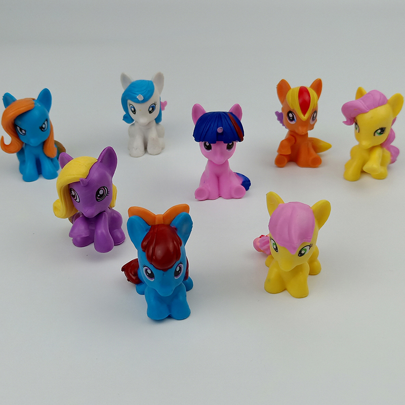 Model-Doll Figure-Toys Anime Little-Poins Collection Christmas-Gift Cute 8pcs Unicorn