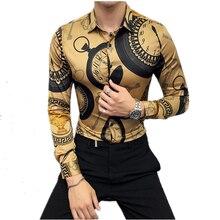 Party Shirt Clothing Long-Sleeve Print Designer Mens Fashion Luxury Brand Camisa Club