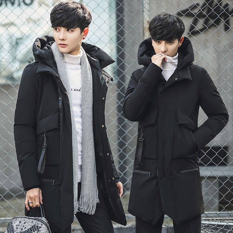 Зимние куртки для мужчин, Повседневная парка средней длины, плотное зимнее пальто для мужчин, однотонная парка, Мужская одежда, пальто, верх...