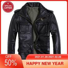2021 schwarz Männer M65 Leder Jacke Große Größe XXXXXL Echte Dicke Rindsleder Herbst Russische Slim Fit Safari Leder Mantel