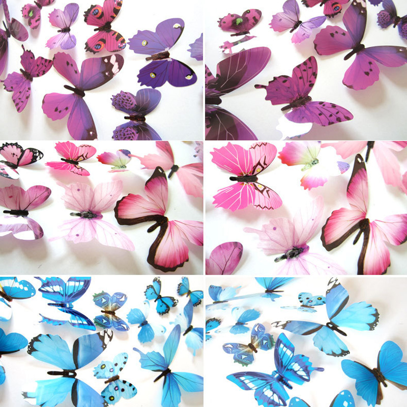 12pcs Butterflies 3D Wall Sticker Decals New Year Home Decor Butterfly Wedding Decorations PVC Living Room Wallpaper Stickers