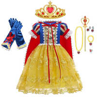 Vestido de niña de nieve blanca princesa papel jugando vestidos niños disfraz de fiesta de Halloween de manga corta de encaje de malla de vestidos