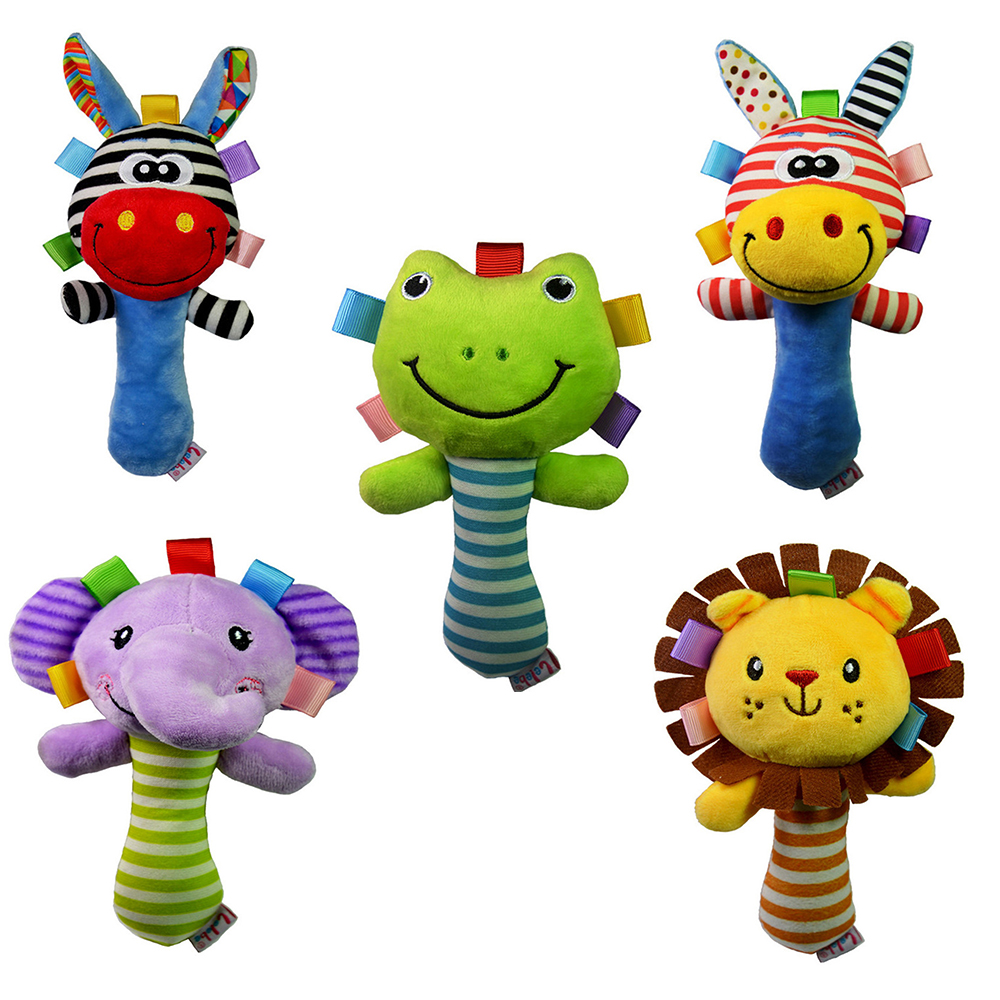 Baby Rattles Animal Handbell Newborn Boys Girls Infant Soft Cute Animal Doll  For Kids Baby Education Learning Toys Rattle Toys