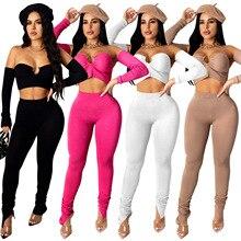 Women Outfits Tracksuit Pants-Set Set-Crop-Top Two-Piece-Set Long-Sleeve Solid Club Neck