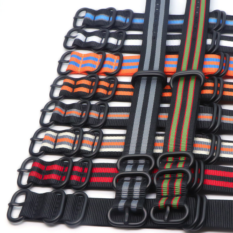 Wholesale 21 color sturdy nylon watch strap otan ZULU 18mm 20mm 22mm 24mm striped rainbow canvas replacement