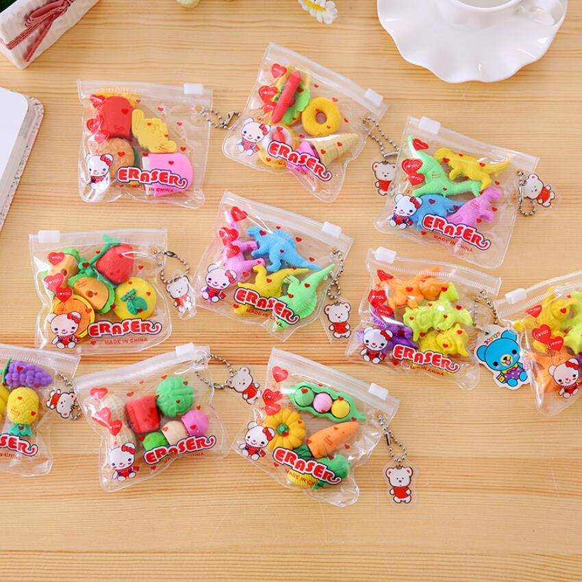 4pcs/pack Food Snack Rubber Bag Six Selections For Kids Gilrls Gift Novelty Items Stationery School Supplies